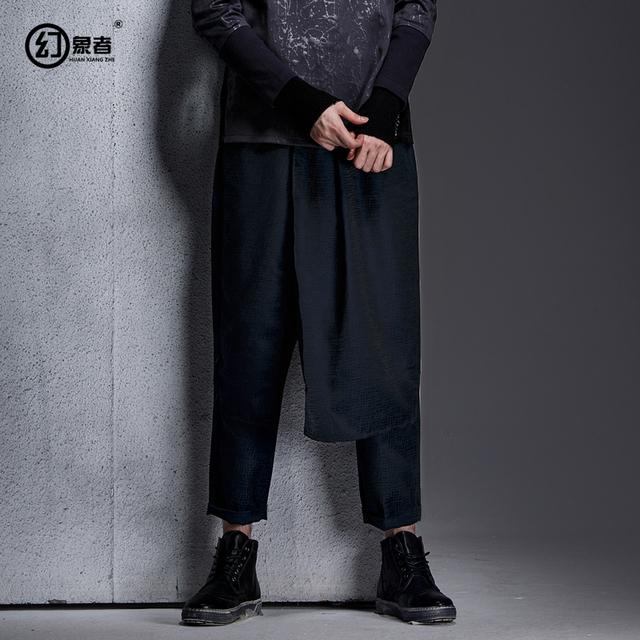 Marca pantalones grandes entrepierna pantalones hip hop harem diseñador Japonés carácter textura sarrouel cruz baggy pantalones falda