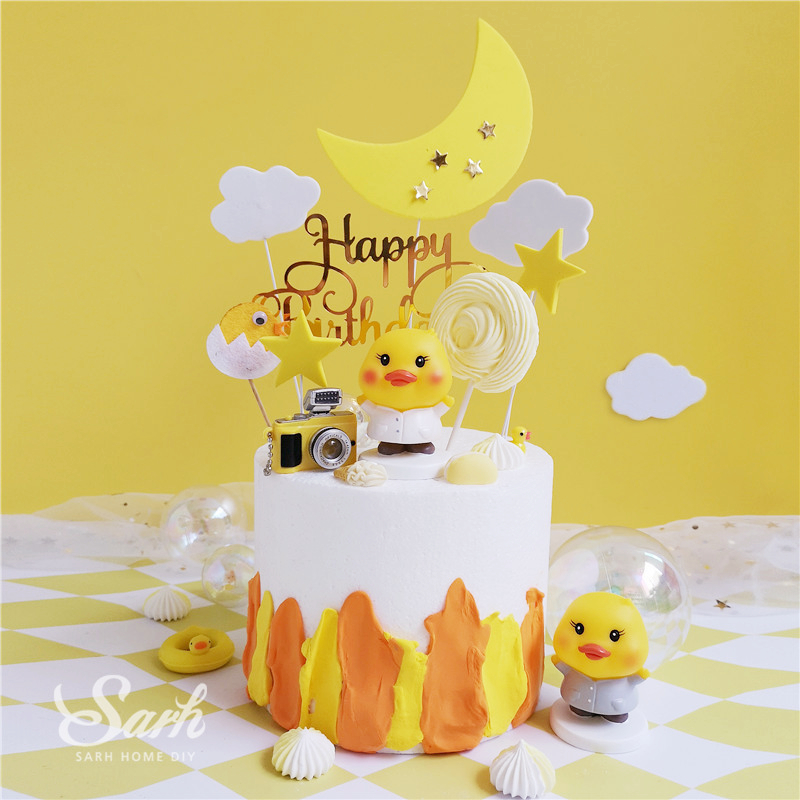 Superb Ins Yellow Duck Cake Toppers Chick Decoration Happy Birthday Funny Birthday Cards Online Alyptdamsfinfo