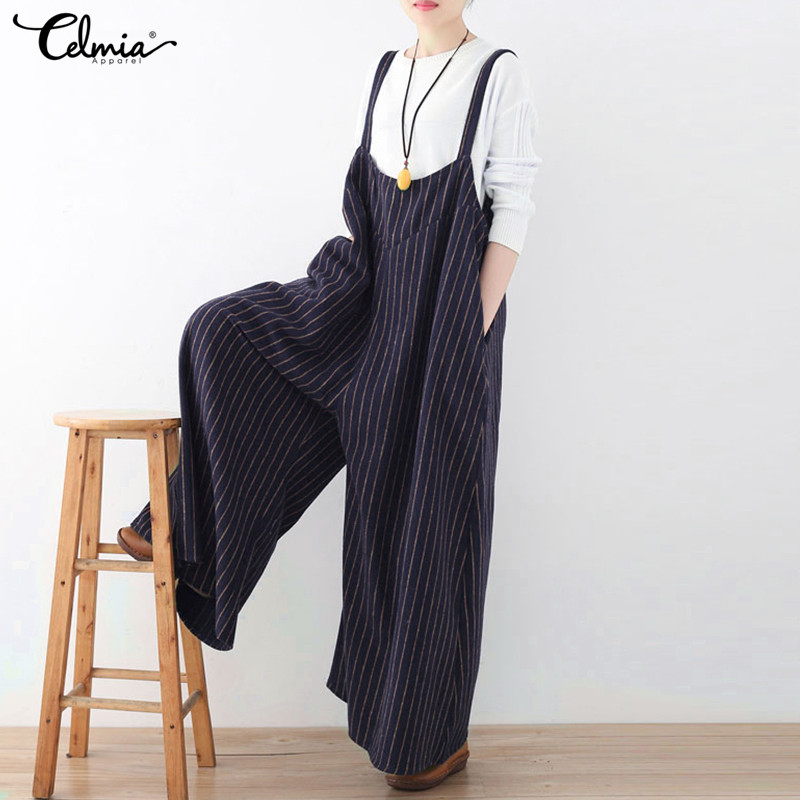 Celmia Summer Overalls Women Jumpsuit 2018 Fashion Striped Long Playsuit Casual Loose Sexy Backless Oversized Plus Size Rompers