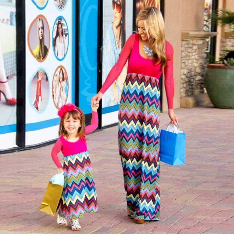 107404a4f6 MVUPP Matka sukienki córka Rodzina Dopasowany strój Długi rękaw casual  paski Patchwork sukienka mama i ja wygląd rodziny ubrań