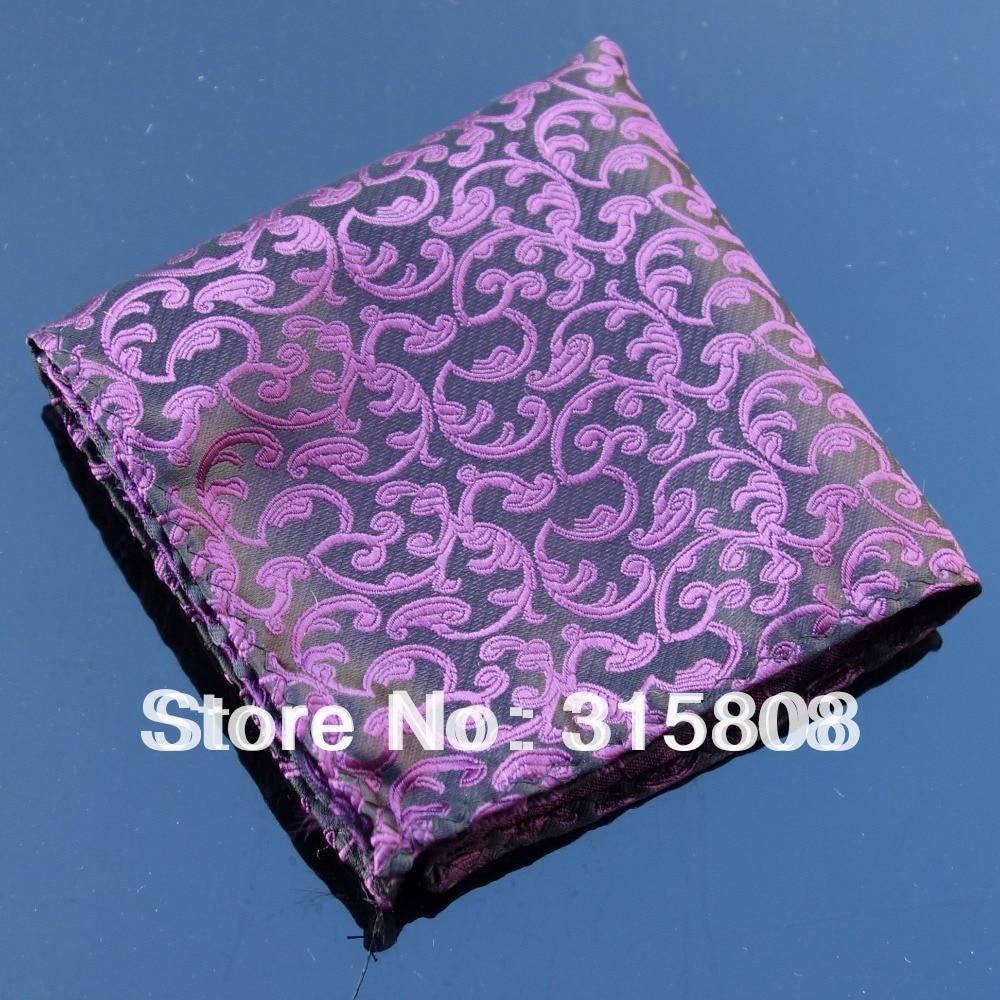 Ikepeibao Hankie Purple Floral Men's Fashion Pocket Square Handerchief Wedding Party Accessaries