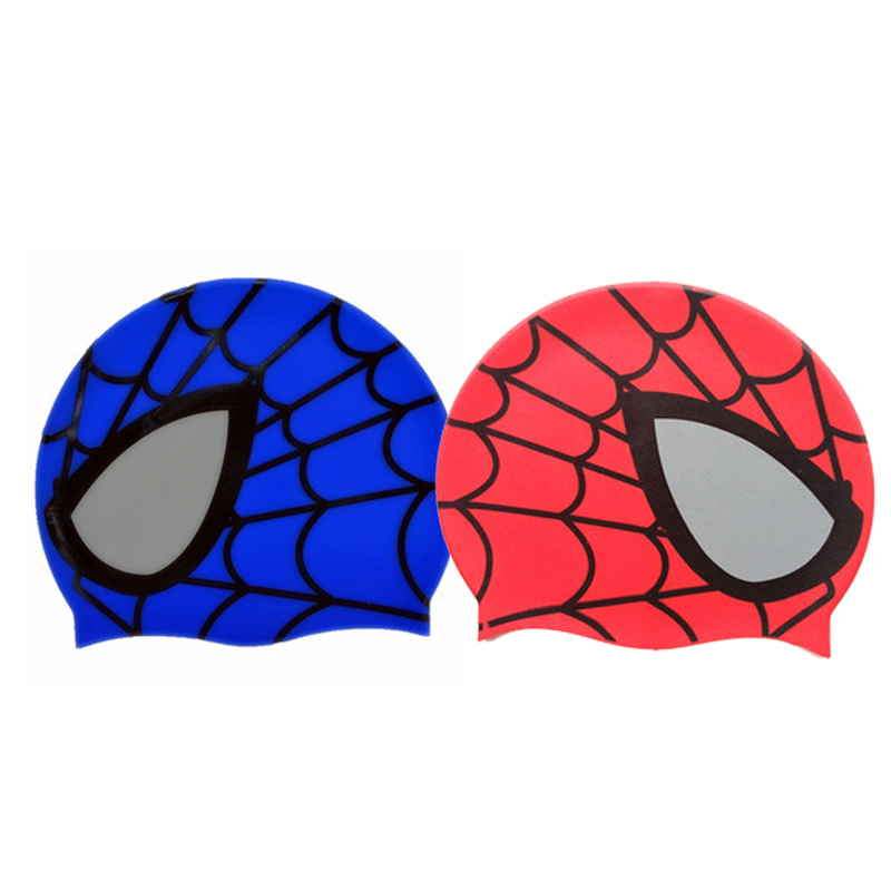 Symbol Of The Brand 2019 Silicone Children Elastic Cartoon Spiderman Printed Swimming Cap Red/blue Swim Hat For Kids/boys/babys 1-9years
