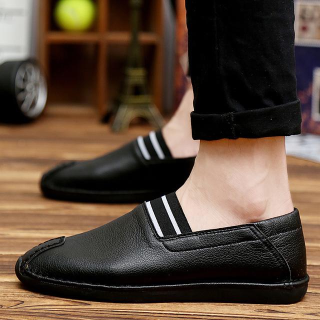 Los Hombres de cuero de Verano Zapatos Planos de Los Hombres Casuales Mocasines de conducción masculinos zapatos casuales transpirable