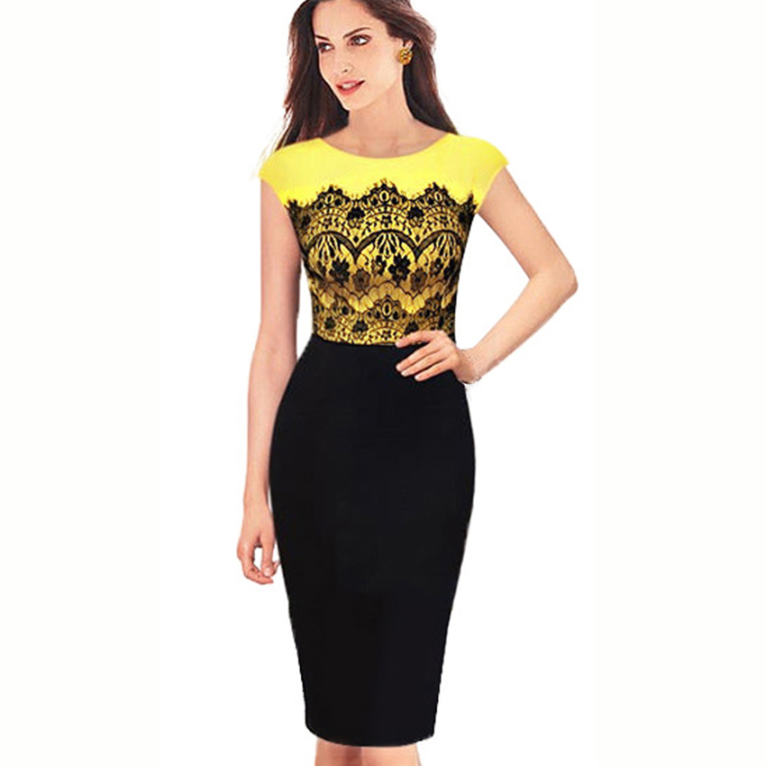 Women Elegant Yellow Eyelash Lace Patchwork Bodycon Sheath Dress Vintage O-Neck Office Work Business Summer Lady Dress 762
