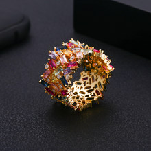 janekelly baguette cubic zirconia cz Gold filled mix rainbow ring for women thin delicate trendy drop shipping female jewelry(China)