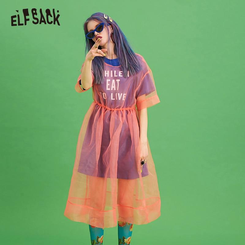 ELF saco de malla de Patchwork carta mujeres camiseta moda Streetwear vestido de mujer de verano de 2019 vestido de mujer, Vestido de playa,-in Vestidos from Ropa de mujer    1