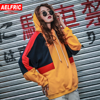 Aelfric Color Block Patchwork Hoodies Streetwear Women Hip Hop Casual Loose Pullover Sweatshirts Femme Embroidery Hoodie Top U06