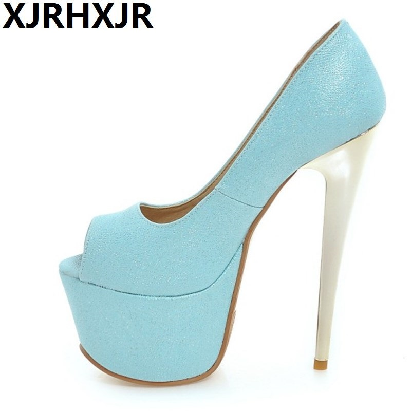 XJRHXJR 30-48 Big Size Shoes Woman Summer Open Toe Party Wedding Club Pumps Women Sexy Thin High Heels Fashion Platform Sandal new fashion big pearls beaded woman flat shoes 2017 sexy open toe sandal crystal embellished slides
