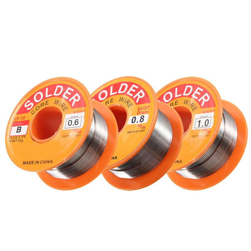 0.5/0.6/0.8/1/1.2/1.5/2.0mm 63/37 FLUX 2.0% 45FT Tin Lead Tin Wire Melt Rosin Core Solder Soldering Wire Roll