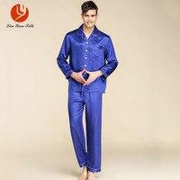 LIN YUN Silk Pajama Sets for Men Sleepwear Button Casual Real Silk Nightgown Set Men's Sleep Lounge Solid Long Sleeve Pajamas