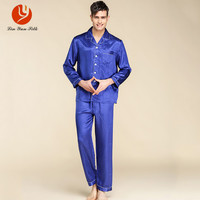 LIN YUN Silk Pajama Sets For Men Sleepwear Button Casual Real Silk Nightgown Set Men S