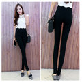 Ruffles white ladies pants black trousers women skinny pants casual womens pencil pants fashion party wear elasticity S-4XL