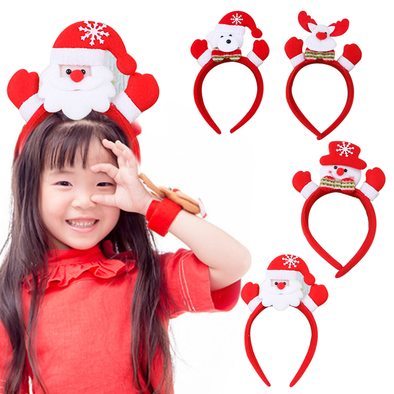 Christmas Hair Band Glowing Head Hoop Hairpin Santa Claus Snowman Bear Christmas Party Supplies Headwear Gifts for Children
