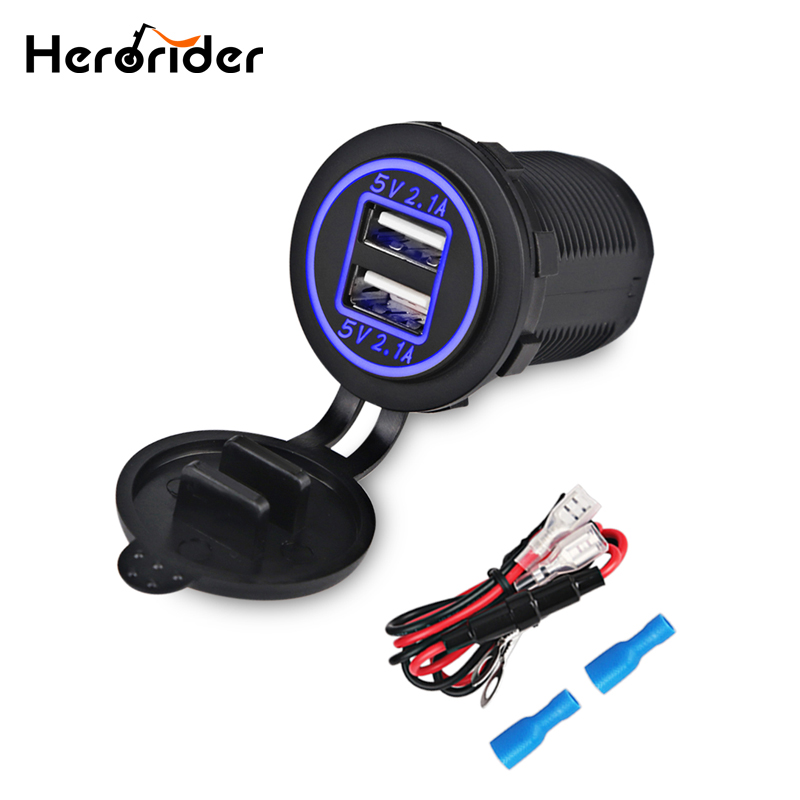 Herorider 12V 24V USB Socket Car Charger For Motorcycle Auto Truck Waterproof Car Power Port Dual USB Adapter 2 port usb charger top quality 12v 24v dual usb waterproof motorcycle 2 1a dual usb charging cable to sae phone charger power adapter outlet parts