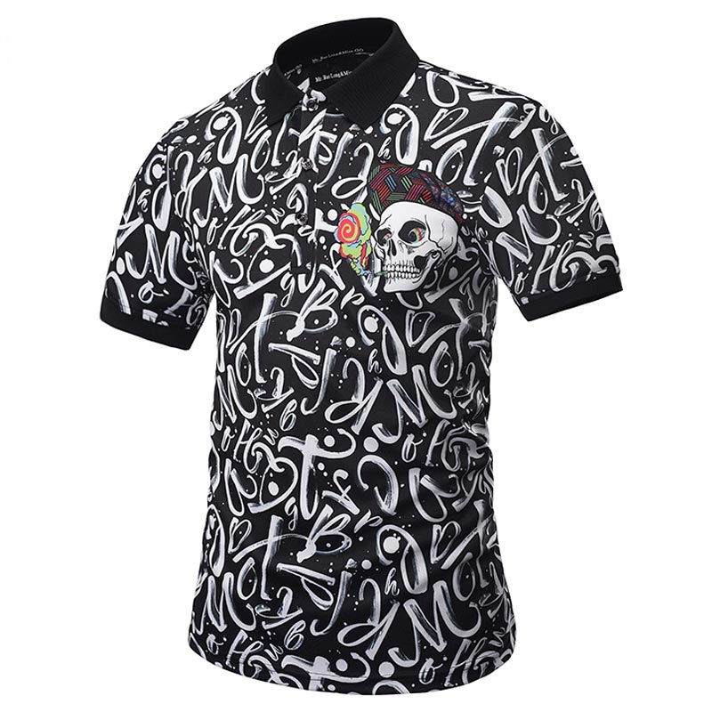 2017   POLO   Shirts Men Women Casual Flowers Shirt Print Skulls Tops Men Summer Tees Shirt Fashion   Polo   Shirts Dropship S-XXL R2235