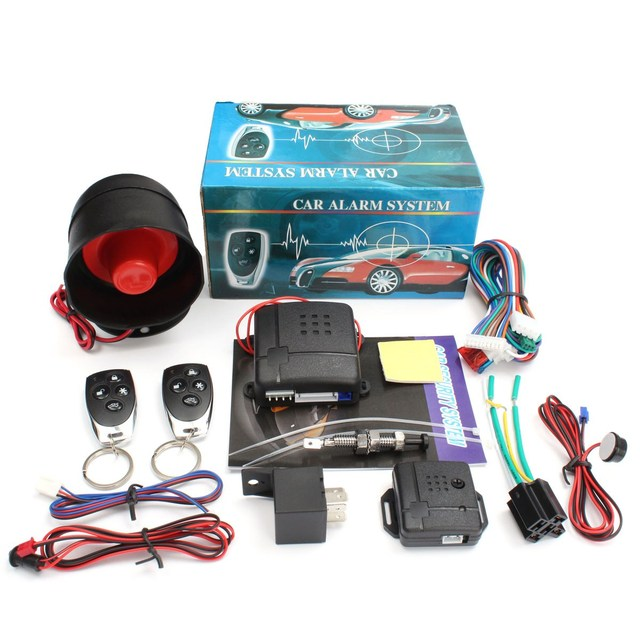 NEW Universal 1- Way Car Burglar Alarm Vehicle Protection Security System Keyless Entry Siren with 2 Remote Control