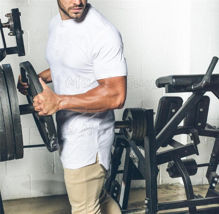 HTB1W 9WcTnI8KJjy0Ffq6AdoVXav Brand gyms clothing fitness t shirt men fashion extend hip hop summer short sleeve t shirt cotton bodybuilding muscle guys Brand