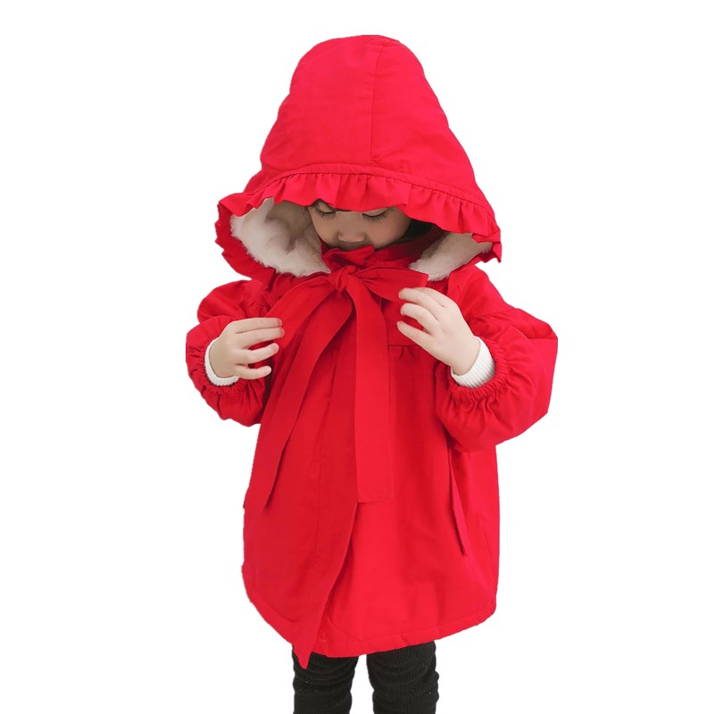 2018 Fashion Girl's Cotton Hooded winter Jacket Children Winter Coat for Children Warm Thick Overcoat for Christmas 18month 5T