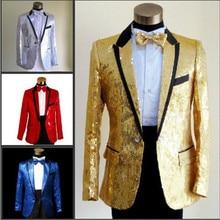 Stylish Men's Casual Dress Costume Slim Set Men's Set Lapel Sequins Tail Dresses Custom Tops and Pants