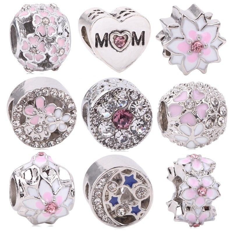 New Silver Color Charm Bead Flower Enamel Beads Fit Original Pandora Bracelet Luxury Fashion Women Jewelry Gift