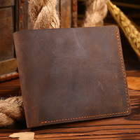 2019 Men Crazy Horse 100% Real Genuine Leather Mini Men Wallets Purse Clutch Money Bag Small Top Quality Handmade Solid Brown