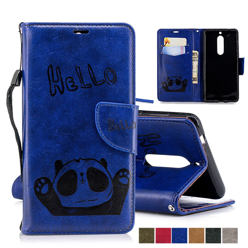 Luxury Panda Leather Flip Case For nokia 5 1 2 3 Wallet Card Slot Holder Magnetic Stand Phone Cases Bag for nokia5 <font><b>ta</b></font> <font><b>1053</b></font> 1029 image