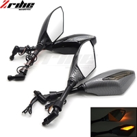 8mm 10mm Scooter Motorcycle Rearview Mirror LED Motorcycle Turn Signal Side Mirror Carbon Fiber Color Motorcycle Flashing Mirror