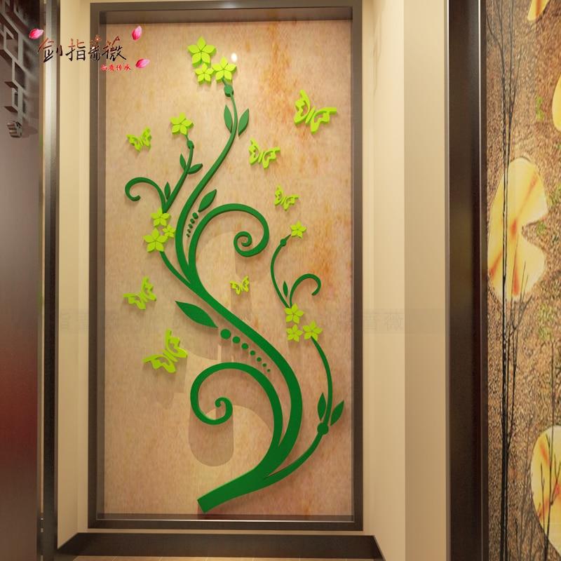 Vestibule flower vine 3D Acrylic three dimensional wall stickers ...