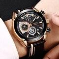 Часы LIGE мужские  деловые  водонепроницаемые  аналоговые  кварцевые  с кожаным ремешком