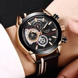 Lige relógio de negócios à prova dwaterproof água data analógico quartzo masculino relógios cronógrafo relógios de couro do esporte para homem relogio masculino