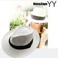 2015 Brand New Panama Hats Man Woman Summer Beach Hat  Sombrero de Panama Black White Fashion Caps Chapeu de Praia Verao YY0084