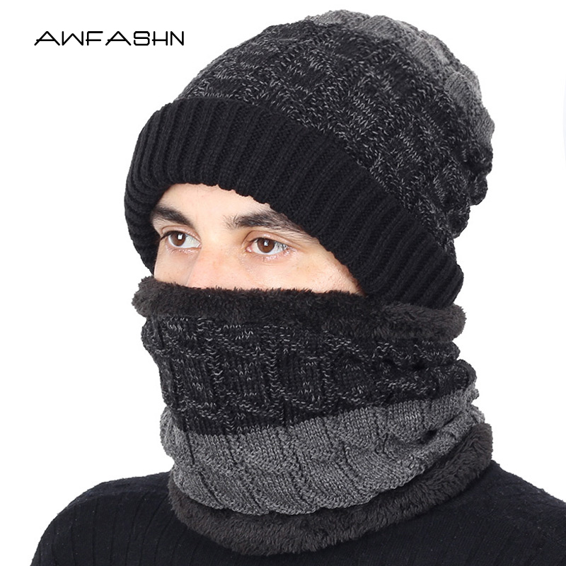 2019 Knitted Hat Snow Wool Hat Ski Suit Men's Hat Windproof Winter Outdoor Knit Warm Thick Men's Scarf Collar Warm Father Gift