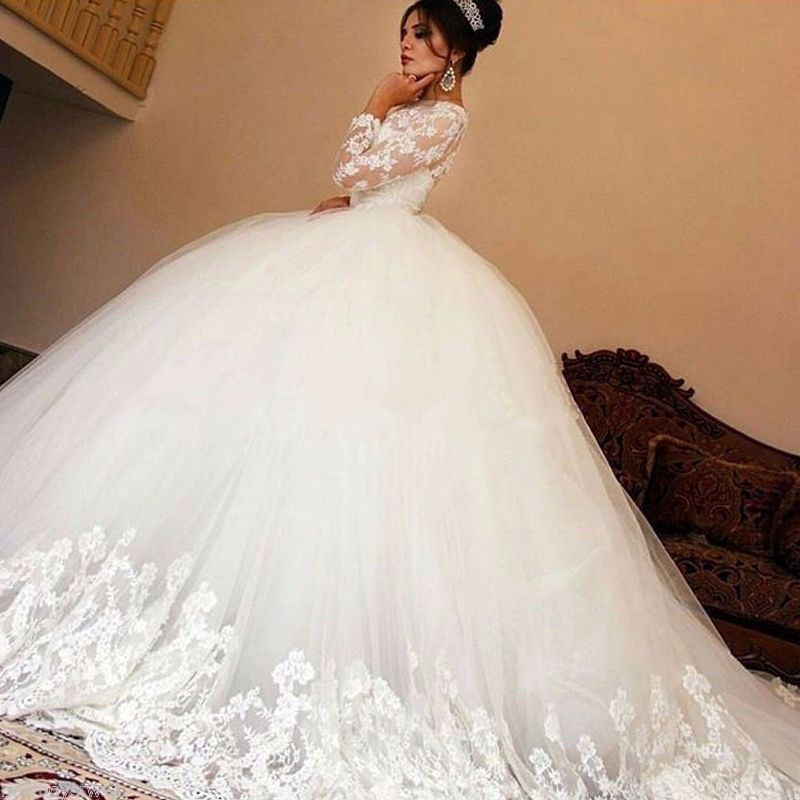 Vestido De Noiva 2016 Romantic O-Neck Lace Long Sleeve Muslim Wedding Dress Elegant Tulle Appliques Ball Gown Wedding Dresses