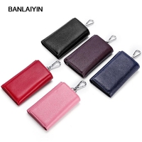 Women Men Genuine Leather Key Wallets Three Fold Key Purse Car Key Holders 4 Ring Buckle Key Case Housekeeper Holder