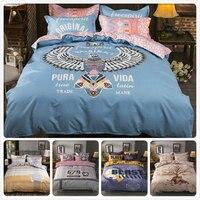 Pura Vida Eagle Animal Print Duvet Cover 1.5m 1.8m 2m Flat Sheet King Queen Double Size Bedlinens 3/4 pcs Bed Linens Bedding Set