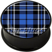 Wholesale Hot sale 60pcs/lot Blue Tartan single flared ear plug mix 10 sizes body piercing jewelry ASF141