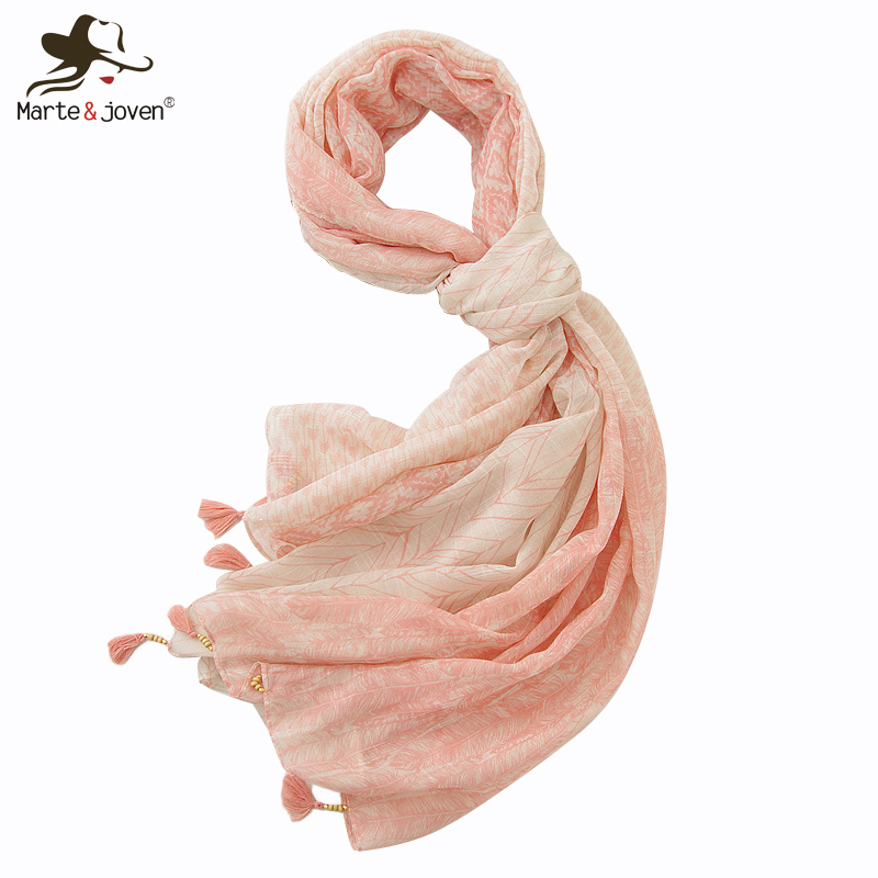 Marte&Joven Women Pink Blue Feather Shawl   Scarf   with Beads Tassels Luxury Big Size Soft Beach Pashmina   Wraps   Ladies Hijab Sjaal