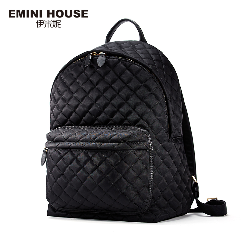 EMINI HOUSE 2016 Fashion Diamond Lattice Backpack Women Canvas Backpacks For Teenage Girls Waterproof Nylon Backpack Women Bag