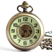 Vintage Bronze Open Face Automatic Mechanical Pocket Watch Roman Numerals Clock Time With Chain Fob Watches