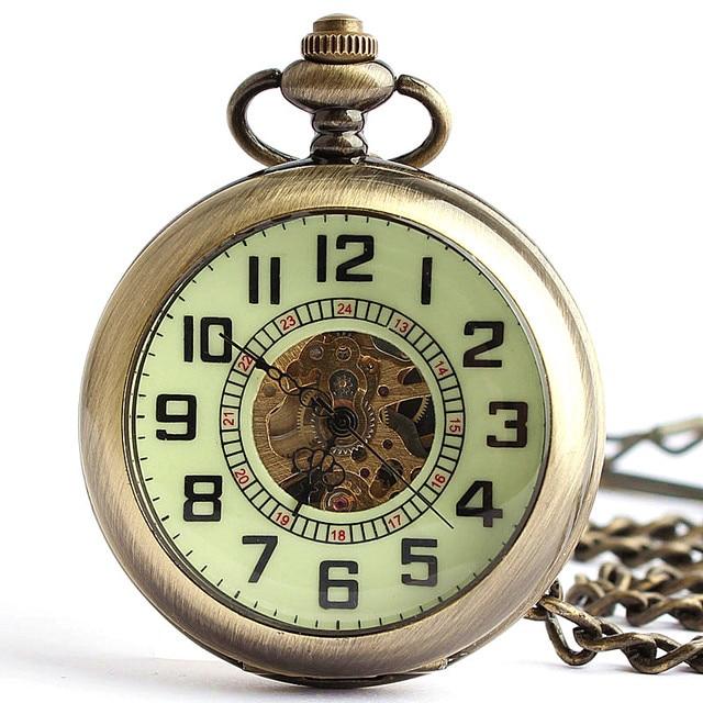 Vintage Bronze Open Face Automatic Mechanical Pocket Watch Roman Numerals Clock