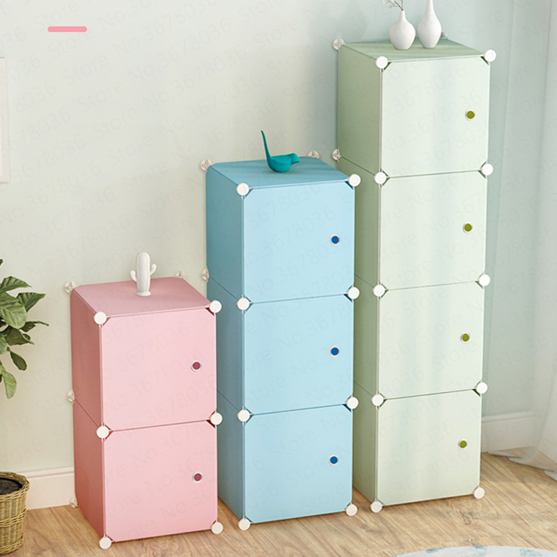 Through The Wardrobe Baby Storage Cabinet Imitation Cloth Plastic Children Assembled Simple Toy Cabinet Modern  Baby Furniture(China)