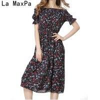 LA MAXPA Druck Chiffon Unkonventionellen Kleid Backless 2018 Sommer Lange Sexy Frauen Kleid Maxi Strand Ein wort führte Kleider Vestidos