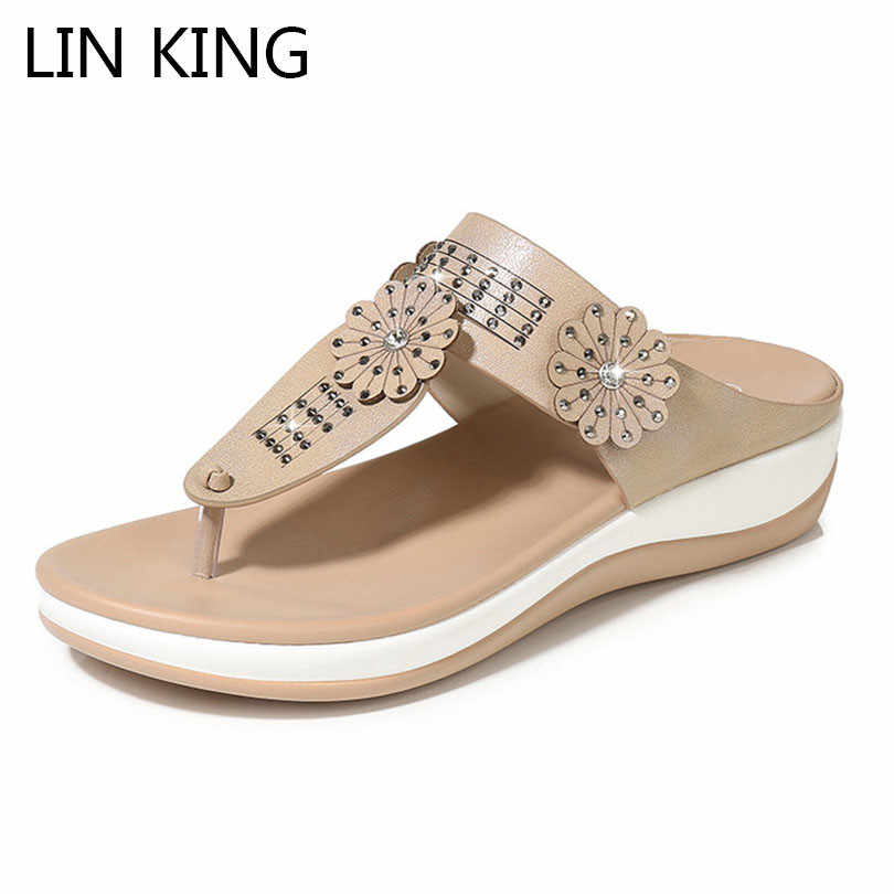 LIN KING Top Quality Women Leather Slippers Flip Flops Girls Wedges Summer Platform Slides Fashion Floral Non Slip Beach Shoes