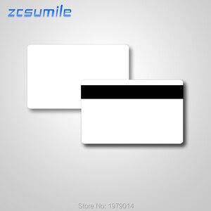 Image 1 - 100 stks/partij Lege Witte PVC 2750 OE Hico 3 magneetstrip Plastic Kaart kan printable voor card printer Gratis verzending