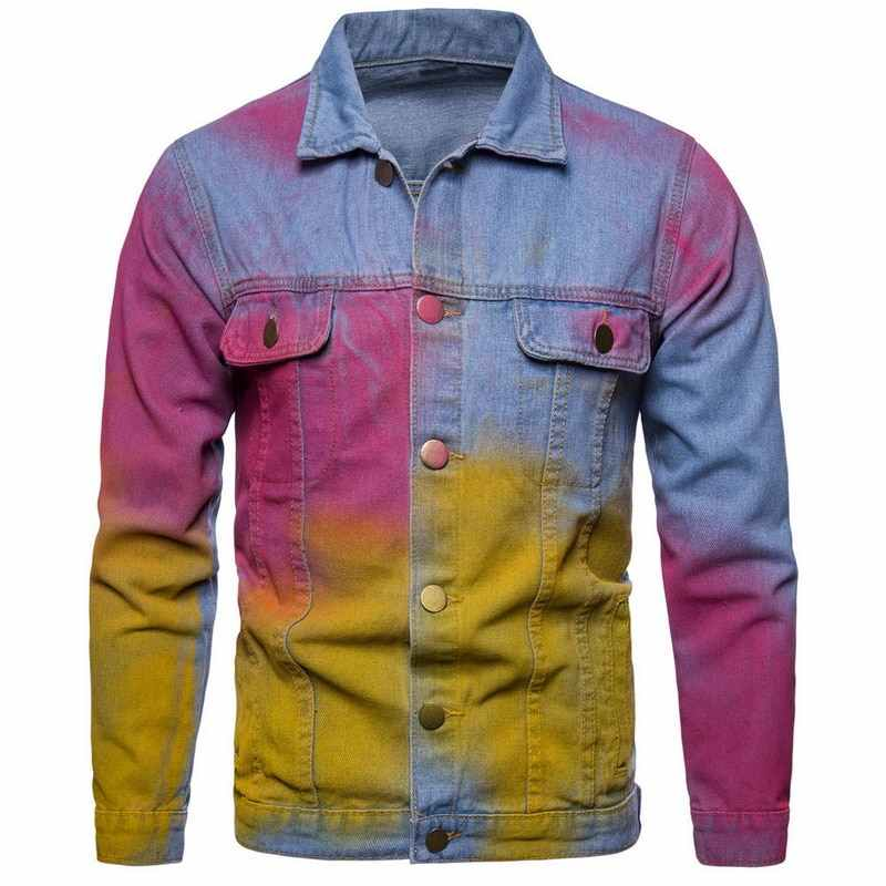 ff0499bdbe Puimentiua Fashion Autumn 2018 Men Denim Hip Hop Streetwear Jackets Vintage  Colorful Patchwork Dye Ink Jacket
