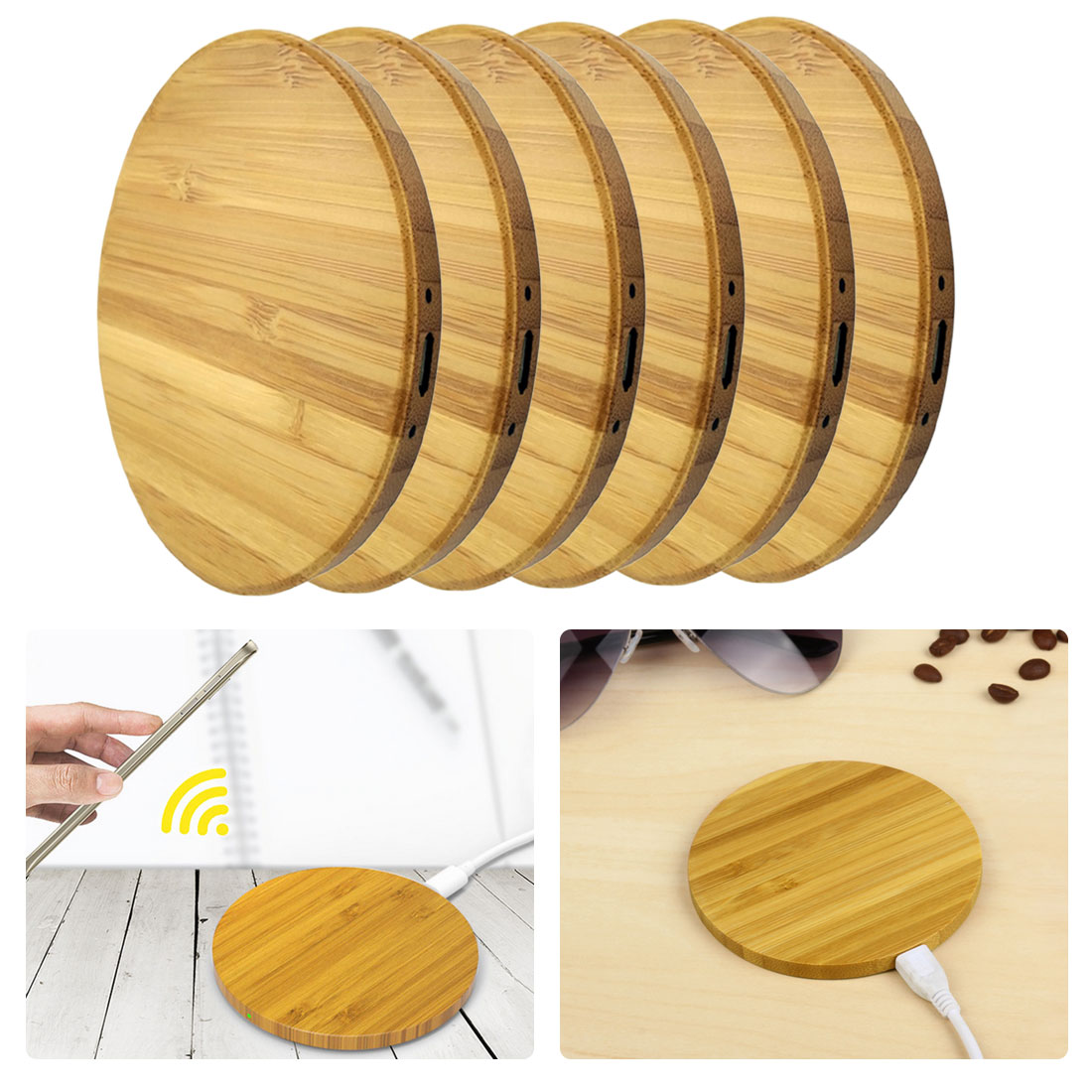 Wooden Fast Wireless Charger Wireless Charging Pad for iPhone XS Max XR X 8 Plus for Samsung Huawei