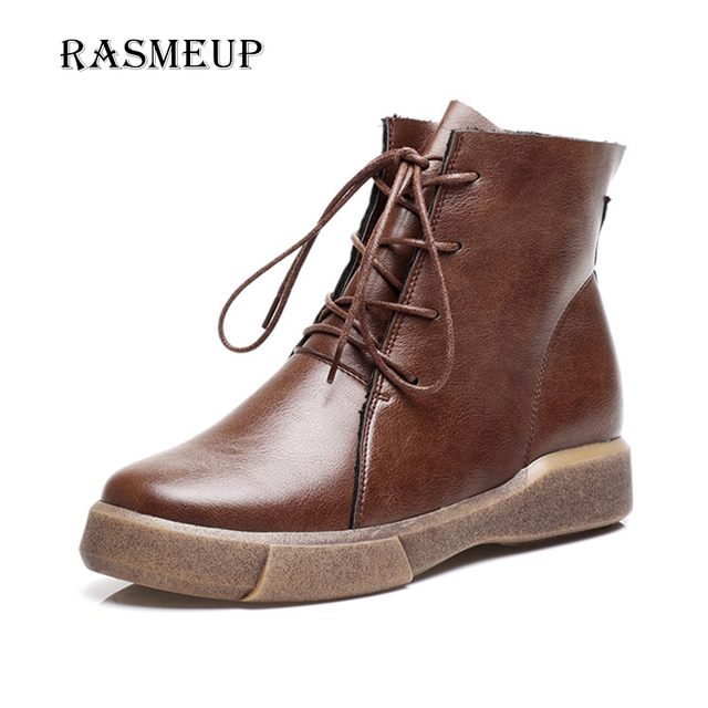 04be5a2a141 US $31.87 38% OFF|RASMEUP Elegant Women Ankle Boots Autumn Winter Plush  Warm Woman Retro Flat Martin Boots Lace Up Vintage Women's Short Shoes-in  ...