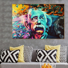 Albert Einstein Graffiti Street Art Banksy Figure Canvas Painting Poster Print POP Wall Pictures for Living Room Home Decor