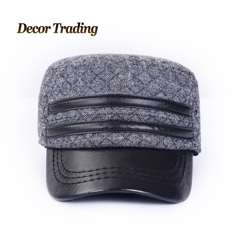 f3015d9fdd3 NEW 2015 Mens Autumn Winter Warm Military Hats Fashion Casual Ear  Protection Flat Top Thick Amry Cadet Cap Autumn Hat-in Military Hats from Men s  Clothing ...