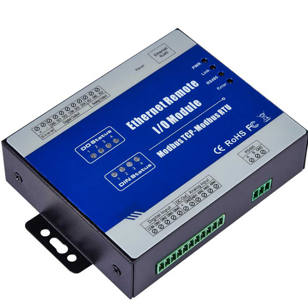 Ethernet Data Acquisition Module Modbus TCP Remote IO Supports 5 TCP Links Pulse counter 12-36V with 4 Relay outputs M120T